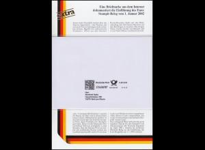 Sonderblatt Eine Briefmarke aus dem Internet: ein STAMPIT-Beleg vom 1.1.2002