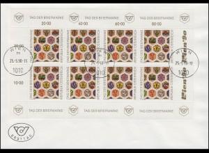 Österreich 1990 Tag der Briefmarke - Kleinbogen auf FDC WIEN 25.5.1990