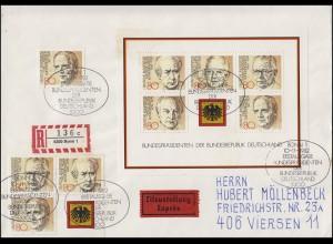 Block 18 Bundespräsidenten mit Marken daraus auf Eil-R-FDC ESSt Bonn 10.11.1982