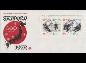 Block 6 Winterolympiade auf Schmuck-FDC Sapporo ESSt KIEL Eishockey 4.6.1971