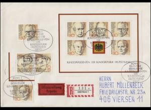 Block 18 Bundespräsidenten mit Marken aus Block 18 auf Eil-R-FDC ESSt Bonn 1982