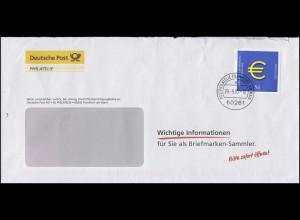 2234 Euro 2002 EF Brief Informationen für Briefmarken-Sammler FRANKFURT 29.9.03