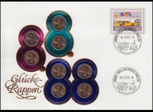 Schweiz Numisbrief 8 Glücks-Rappen zum 8.8.88, BERN 8.8.88 - 8 Uhr
