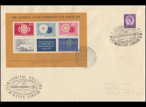 Briefmarkenausstelllung STAMPEX 1961 Brief mit Vignettenblock SSt LONDON 17.3.61