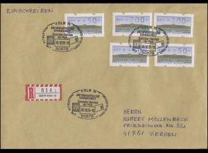 ATM 2.1.1. Sanssouci 5 Werte 50+200 Pf. MiF R-Brief SSt Köln PHILATELIA 20.10.95