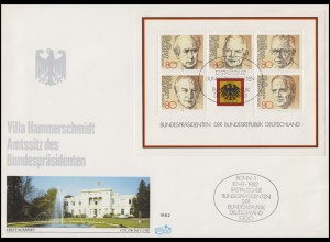 Block 18 Bundespräsidenten auf FIDACOS-Schmuck-FDC Villa Hammerschmidt ESSt Bonn