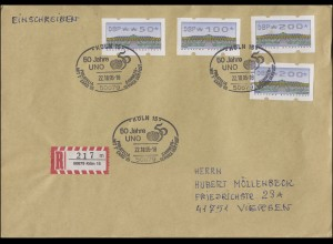 ATM 2.2.1. Sanssouci 50, 100, 2mal 200 R-Brief SSt Köln PHILATELIA UNO 22.10.95