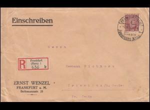362 Stephan 30 Pf auf R-Brief SSt FRANKFURT/MAIN Älteste deutsche Messe 7.4.1928