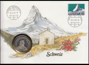Schweiz Numisbrief Confoederatio Helvetica, mit 820, ZERMATT 24.12.87, 5 Franken