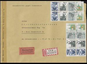 2x Heftchenblatt 31 SWK aus MH 26 MeF R-Brief mit Rückschein DÜSSELDORF 23.6.93