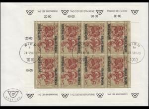 Österreich 2032 Tag der Briefmarke - Kleinbogen auf FDC WIEN 29.5.1991