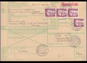 730 Heinemann 4 mal 150 Pf. als MeF auf Auslands-Paketkarte MÜNCHINGEN 13.4.1974