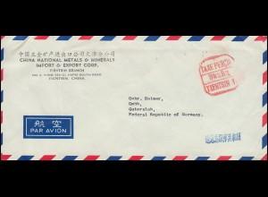 China: Gebühr-bezahlt-Stempel TIENTSIN 31.12.1974 auf Brief nach Gütersloh