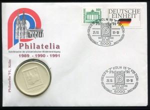 Bund: Numisbrief Philatelia 1991 Brand.Tor/Deutsche Einheit SSt KÖLN 25.10.91