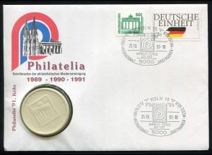 Bund Numisbrief Philatelia 1991 Brand. Tor/Deutsche Einheit, SSt KÖLN 25.10.1991