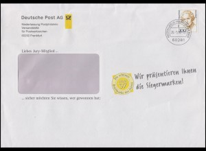 1956 Frauen Maria Probst 300 Pf EF Werbe-Brief Jury-Mitglied FRANKFURT 26.5.98
