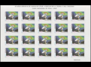 Spanien 4206 Astronomie Radioteleskop 20x 78 Cent 2007 - auf Folienblatt **