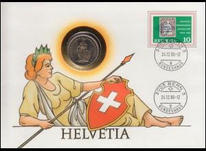 Schweiz Numisbrief HELVETIA mit 2 Franken-Münze, MICHEL 809, BERN 24.12.1986