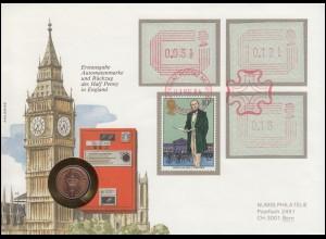Großbritannien: Numisbrief-FDC Erstausgabe ATM, Rowland Hill, LONDON 1.5.1984