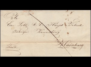 Ungarn Vorphilatelie Halbportobrief Oval-O rot PESTH vom 19.1.1837 n. Hainburg