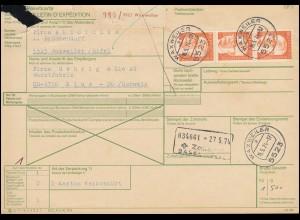 692 Heinemann 3mal 160 Pf. als MeF auf Auslands-Paketkarte WAXWEILER 15.5.1974