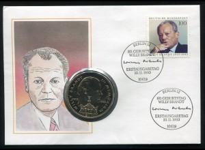 Bund: Numis-FDC Willy Brandt ESSt BERLN 10.11.1993 mit Liberia 1 Dollar