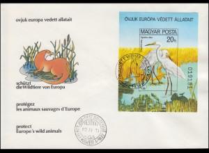 Ungarn: 3457 Block 146B Naturschutzjahr Silberreiher ungezähnt, Schmuck-FDC 1980