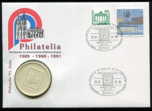 Bund Porzellan-Brief Philatelia Brandenburger Tor/Kölner Dom, SSt KÖLN 25.10.91