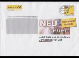 2035 Erich Kästner, Post-Werbebrief Neuheiten + Dankeschön FRANKFURT 29.5.2001