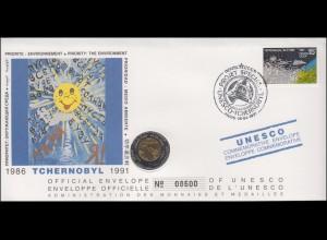 Sowjetunion: Numisbrief UNESCO Tchernobyl-Programme, SSt 26.4.1991, Medaille