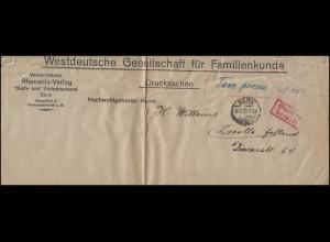 Gebühr-bezahlt-Stempel Drucksache Rhenania-Verlag BONN 30.8.1923 nach Zwolle/NL