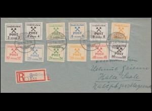 Großräschen 31-42 Gebührenmarken, 12 Werte komplett, Satz auf R-Brief 23.1.1946