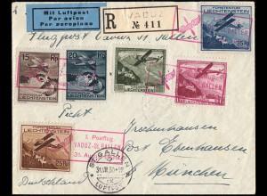 1. Postflug roter Kasten-SSt VADUZ-ST.GALLEN 31.8.1930, auf R-Brief mit 108-113