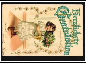 Prägekarte Gratulation: Mädchen mit Rosenbaum Margerite-Girlande, HILGEN 27.4.04