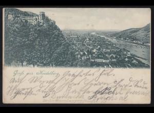 AK Gruss aus Heidelberg: Panorama, 29.11.1901 nach Karlsbad