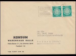 DDR Dienst 20 Pf. Zirkel Paar MeF auf Brief Konsum Warenhaus HALLE/SAALE 21.2.58