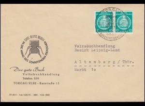 DDR Dienst 10 Pf. Zirkel Paar MeF Brief Volksbuchhandlung SSt TORGAU 16.3.1955