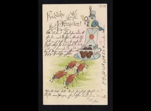 Tiere-AK Pfingsten Vogel als Postillion Maikäfer ziehen Geschenke, HACHENBURG