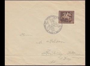 671 Das Braune Band 1937 auf Brief mit passendem SSt MÜNCHEN-RIEM 31.7.37
