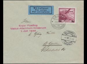 1. Postflug Vaduz-Altenrhein-Innsbruck passende EF 148 auf Brief VADUZ 1.7.1935
