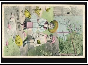 Tiere-AK Ostern: Spielende Kinder mit Küken, Feldpost 1918