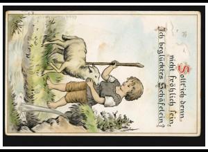 Tiere-AK Kinder von Olga Burckhardt: Junge mit Lamm, ERFURT 14.7.1917