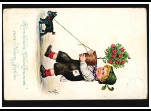 Österreich Tiere-AK Neujahr: Junge mit Blumentopf und Hund, 30.12.1912