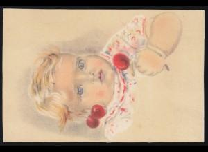 Künstler-AK Kleines Mädchen mit Kirschen, gelaufen 1943