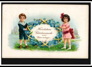 Prägekarte zum Geburtstag mit Veilchenblumen-Oval und Kinder, BORDESHOLM 25.4.22