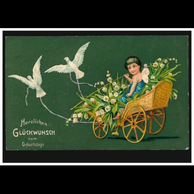 Prägekarte Geburtstag: Wagen mit Maiglöckchen und Tauben, HALBERSTADT 30.5.1909