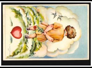 Künstler-AK C. Kotysana: Trauriges Kind mit Rose und Schwalben, gelaufen 1930