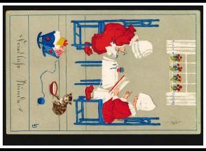 Tiere-AK Kinder beim Lesen und Nähen mit Puppe und Katze, HANNOVER 13.2.1921