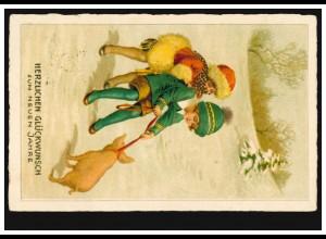 Tiere-AK Neujahr Kinder mit Glücksschwein, per Bahnpost 1925