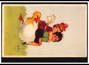 Künstler-AK Asta Printer Ostern Mädchen schlüpfendes Küken, JAROMER 5.4.1939